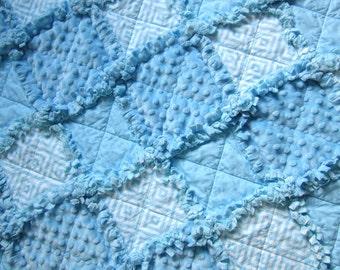 "Baby Boy Rag Quilt, 30"" x 35"" Crib Quilt, Minky Baby Blanket, Boy Crib Bedding, Blue Baby Blanket"