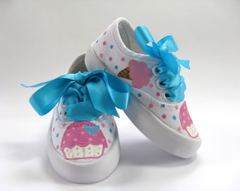 Cupcake and Ice Cream Shoes, Birthday Party Sneakers, Ice Cream Cones Outfit, Hand Painted for Baby and Toddler