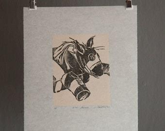 Art Print, Lino Cut, Linoleum Cut, Linoleum Block Print, Wall Art, Printmaking, Animal Print, Children's Art, Kids Art Print, Printmaking