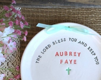 Ceramic Keepsake Plate to Celebrate Baptism or Christening - Personalized with Name and Date