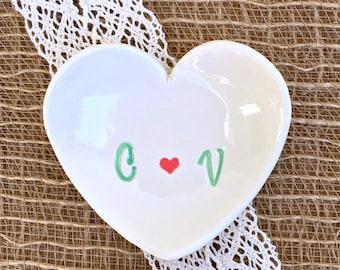 Heart Ring Dish- Ring Dish Monogram, Ring Dish Engagement, Ring Dish Wedding, Ring Dish Personalized,Gift
