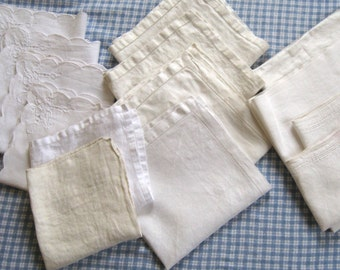 14 Linen Napkins . Mismatched Linen Napkins . Lot of 14 Napkins . 1920s-1960s