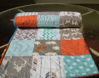 Baby quilt,baby boy bedding,baby girl quilt,teal,grey,orange,aqua,deer bear quilt,rustic quilt,woodland,organic,arrow,chevron,Bright Woodsy