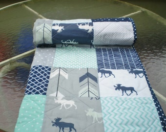 Baby quilt,Moose baby quilt,baby boy bedding,baby girl quilt,woodland,rustic,mint,grey,navy,chevron,moose,arrow,chevron-Only Bullwinkle