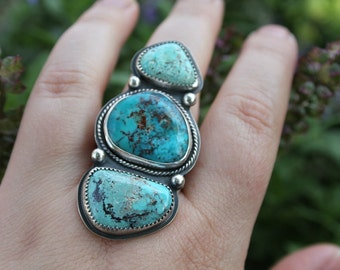 Triple turquoise ring - metalwork - sterling silver ring - silver and turquoise - statement ring - southwestern - bohemian ring