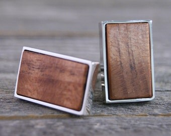 Men's Cufflinks Handmade from California Redwood in Silver Bezel
