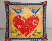 Blue Birds Pillow - Heart Pillow - Blue Birds of Happiness Pillow - Soft Fleece - Red Fleece - 14 Inch Pillow - Throw PIllow - Cushion