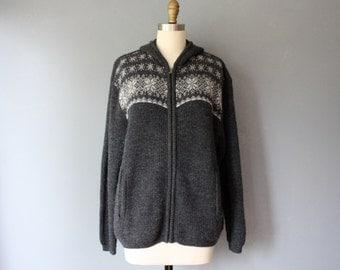 vintage woolrich hoodie / charcoal nordic design zipped cardigan / XL