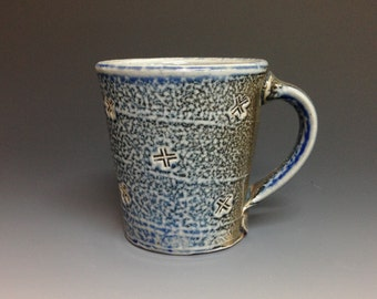 Blue Gray Coffee Mug. Soda Fired Stoneware Pottery