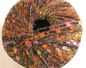 Ladder Ribbon Glitter yarn, VEGAS, trellis yarn, black orange gold purple 75