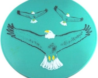Round Tourquoise Silicone Soaring Eagle Table Placemat Kitchen Hot Pad Table Decor