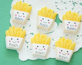 4 pcs French Fries - Potato chan Cabochon (18mm22mm) CD661 (((LAST)))