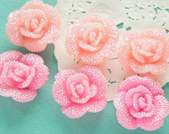 6 pcs Bling Rose Cabochon (29mm31mm) AB Light salmon pink and pink FL362 (((LAST)))