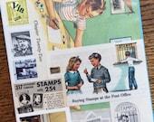 Stamp Collecting Vintage Postage Stamp Collage, Planner and Scrapbook Kit Number 1885