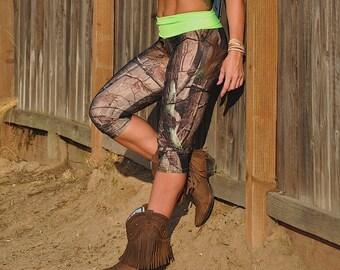 Camo Pants - Workout Clothes - Hot Yoga - Fitness - Green Camo - Camouflage - High Waist - Fold Over - Capri - SXY Fitness - Handmade - USA