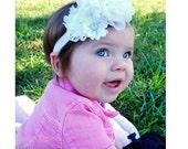 SALE White Baptism Christening Headband - White Flower Blessing Headband - Baby Girl Blessing Headband .... White Headband Rhinestones