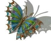 Vintage Butterfly Brooch Plique a Jour Enamel 800 Silver Filigree Pin