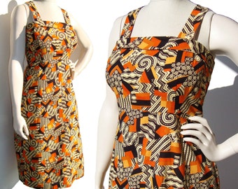 Vintage 60s Dress Mod Cotton Atomic Print Tribal Sundress