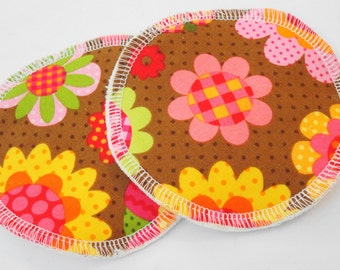 Nursing Pads, Organic Cotton Flannel - Brown Floral