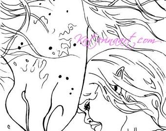 INSTANT DOWNLOAD Digi Stamps Fairy Girl Horse magical dreams Digi By Katerina Art