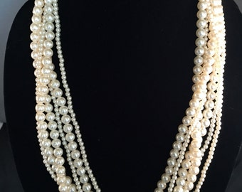 "SUMMER Fun Vintage Multi Strand Faux Pearl Necklace 26"" Prom Wedding Bridal Mother of the Bride"