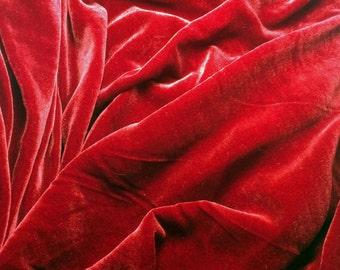 RUBY RED Silk Velvet Fabric - 1 Yard