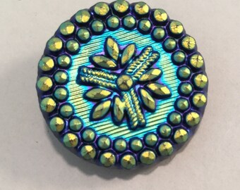 Vintage Matte Carnival Glass Iridescent Blue Gold Luster Flower Snowflake Button
