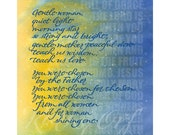 Hail Mary, gentle woman in blue