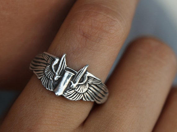 Winged Bomber Ring, Eco-Friendly Jewelry, Pilot Wings Ring, Fine Silver Band, WWII Pilot Wings, Custom Sizes 4 5 6 7 8 9 10 11 12 13 14 15