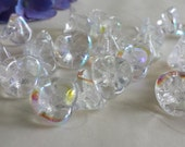 New Item -- 20 pieces of Czech Glass 3 Petals Flower Beads - Crystal AB Color -- 10x12mm