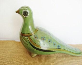 vintage mexican pottery green bird folk art bird