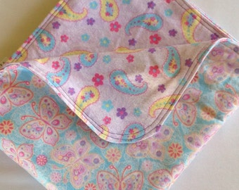 SALE Butterfly Paisley Large Flannel Double Sided Receiving Blanket