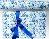 Pagoda Wrapping Paper, Chinoiserie Design, Gift Wrapping, Roll, Gift Wrap, Blue and White, Traditional, All Occasion, Original Design