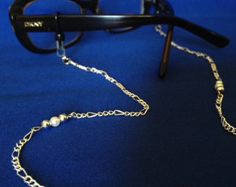 silver and pearl eyeglasses chain