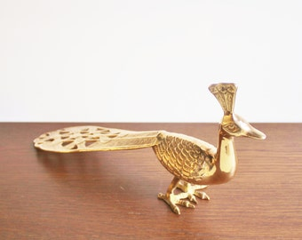 Vintage brass peacock incense holder