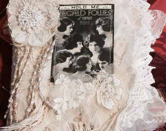 Ooolala Naughty Dancers, lace album, lace collage book, Mixed Media Fabric book, Shabby Chic Lace Book,