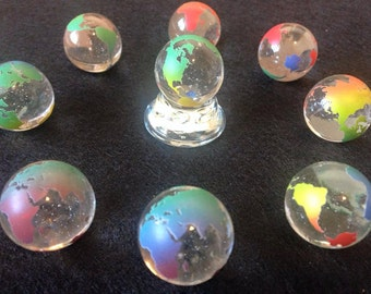 2 World Earth Glass Marbles Continents  23mm Atlas Travel  Colored Clear