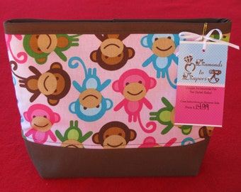 Urban Zoologie Pink Monkeys Girls Toiletry Bag