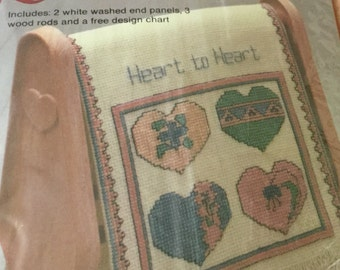Cross Stitch Kit Heart to Heart Unopened Kit Country Quilt Rack pink and green