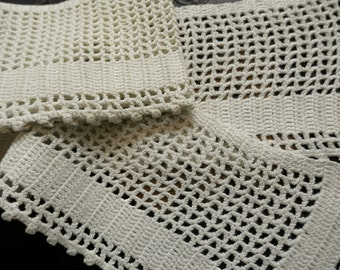 CROCHET EDGING Vintage Filet Crochet With Picot Edge Soft White
