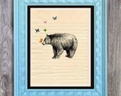 SALE Gentle Bear with Butterflies Print Includes 5 backgrounds Instant Digital Download DIY Print yourself