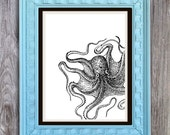 SALE Curious Octopus Print Includes 5 backgrounds Instant Digital Download DIY Print yourself