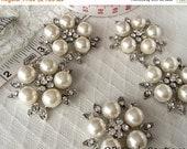 50% OFF Rhinestone and Pearl Brooch, Ivory pearl brooch, pearl brooch, wedding brooch, bridal brooch