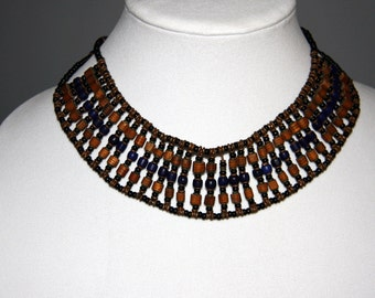 Vintage  Wood Glass Bib Necklace Natural Wood Bead Glass Bead Necklace