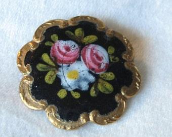ANTIQUE Rose Flower Black Enamel Scallop Border BUTTON