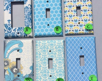 Blue Floral Damask Honeycomb Yellow Art Deco BeachHouse Switchplate outlet Double Triple Quad Rocker Dimmer Blank Cable