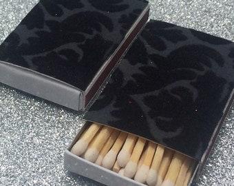 10 Matchbox Wedding Favors Black Velvet Brocade