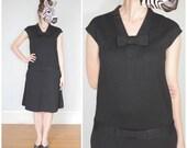 Vintage 60's Black Wool Knit Dropwaist Dress with Bows | Medium