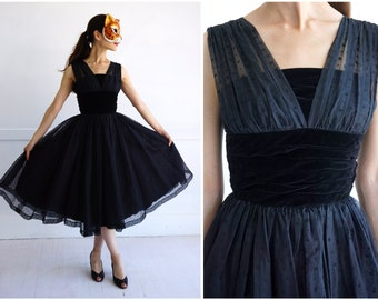 Vintage 50s/60s Black Velvet Flocked Party Dress with Full Skirt and by Sumire Ya, Tokyo | XS