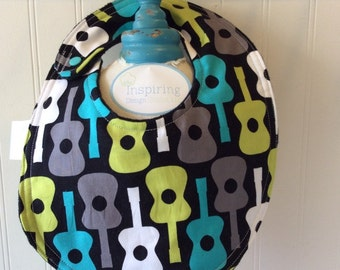 Baby-Toddler-Bibs-Boy-Boys-Bib-Rocker-Groovy-Guitars-Lagoon-Blue-Minky-Dot-Nursery-accessories-Shower-Birthday-Holiday-personalized-Gifts